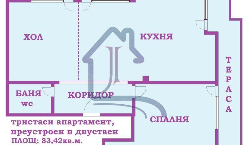 Луксозен 2-стаен апартамент, преобразуван от 3-стаен